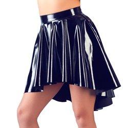 Black Vinyl Asymmetrical Rock Skirt by Black Level