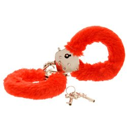 Toy Joy Furry Fun Hand Cuffs Red Plush by Toy Joy Sex Toys
