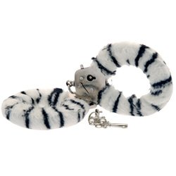 Toy Joy Furry Fun Hand Cuffs Zebra Plush by Toy Joy Sex Toys