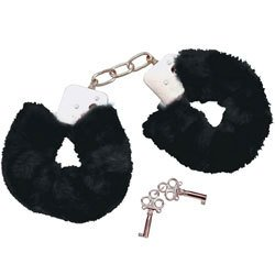 Bad Kitty Black Plush Handcuffs by Bad Kitty