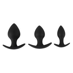 Black Velvet Silicone Three Piece Anal Training Set by Various Toy Brands