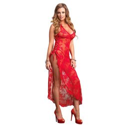 Leg Avenue 2 Piece Rose Lace Long Dress With Lace Side Red by Leg Avenue Lingerie