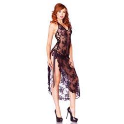 Leg Avenue 2 Piece Rose Lace Long Dress With Lace Side Black by Leg Avenue Lingerie