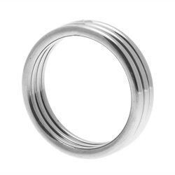 Echo Stainless Steel Triple Cock Ring ML by Master Series