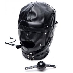 Strict Bondage Hood With Breathable Ball Gag by XR Brands