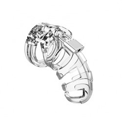 Man Cage 02 Male 3.5 Inch Clear Chastity Cage by Shots Toys