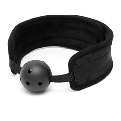 Black Padded Mouth Gag With Breathable Ball by Rimba