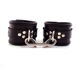 Rouge Garments Black Leather Ankle Cuffs With Piping by Rouge Garments