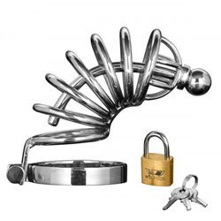 Asylum 6 Ring Locking Chastity Cage by Master Series