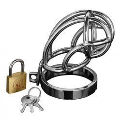 Captus Stainless Steel Locking Chastity Cage by Master Series