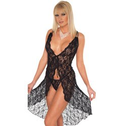 Black Lace Night Dress And GString One Size 8 to 12 UK by Rimba